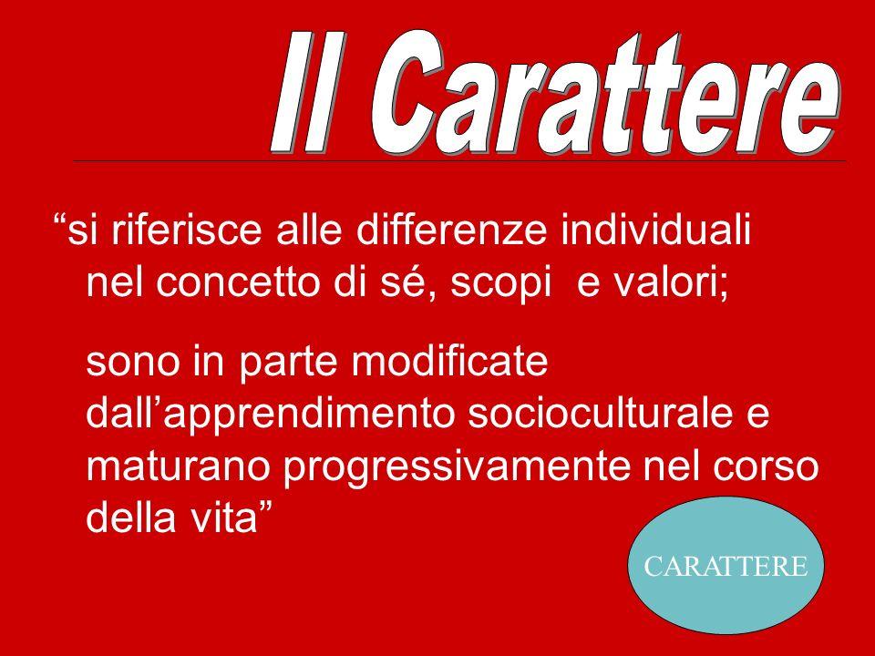 Il Carattere si riferisce alle differenze individuali nel concetto di sé, scopi e valori;