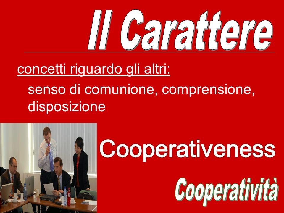 Cooperativeness Il Carattere concetti riguardo gli altri:
