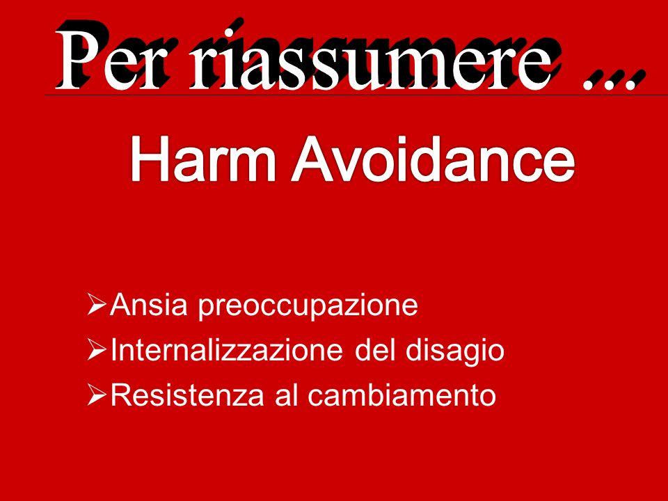 Harm Avoidance Per riassumere ... Ansia preoccupazione