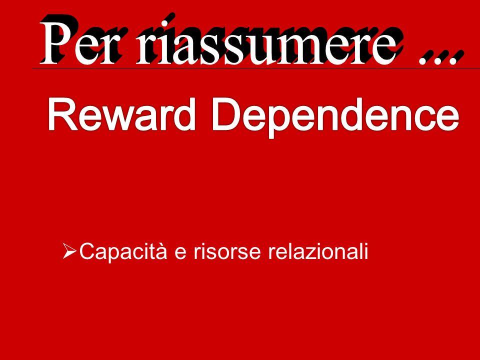 Per riassumere ... Reward Dependence Capacità e risorse relazionali