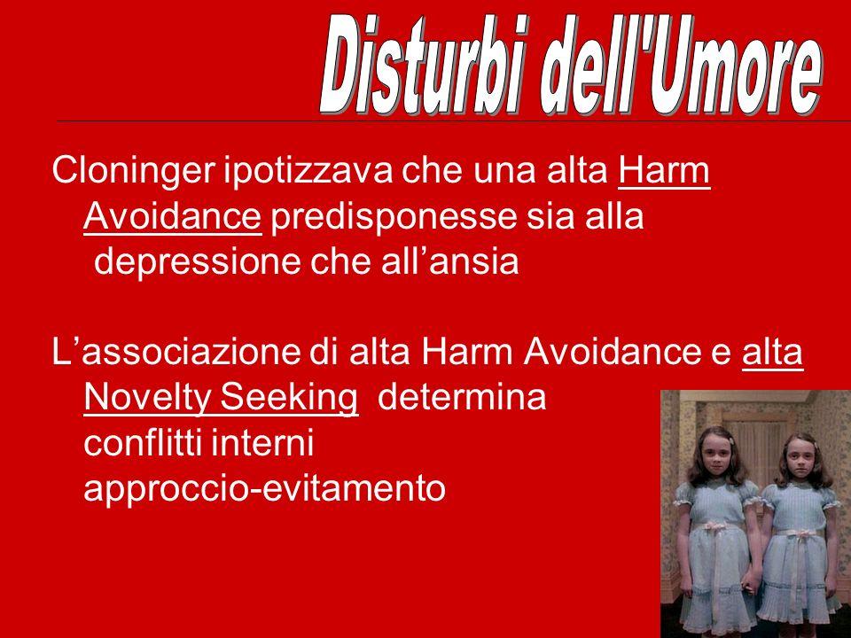Disturbi dell Umore Cloninger ipotizzava che una alta Harm Avoidance predisponesse sia alla. depressione che all'ansia.