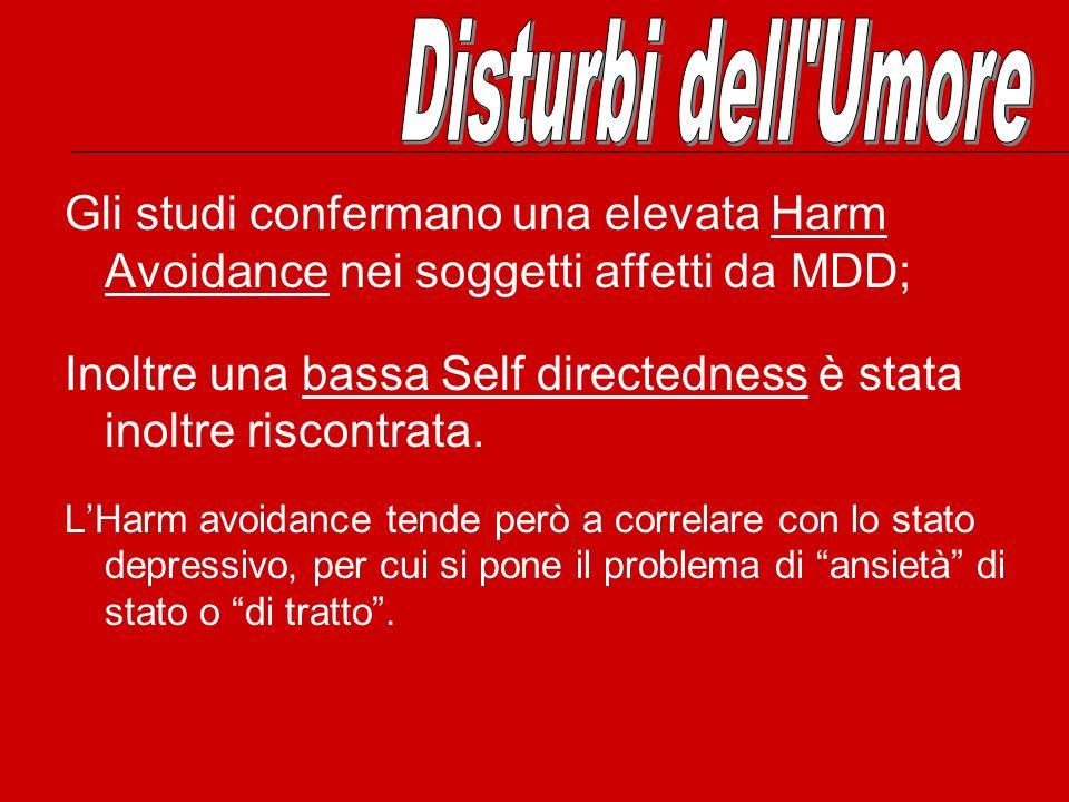 Disturbi dell Umore Gli studi confermano una elevata Harm Avoidance nei soggetti affetti da MDD;