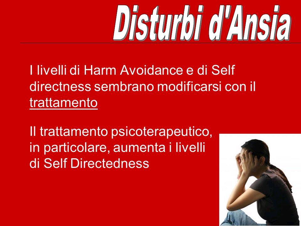 Disturbi d Ansia I livelli di Harm Avoidance e di Self directness sembrano modificarsi con il trattamento.