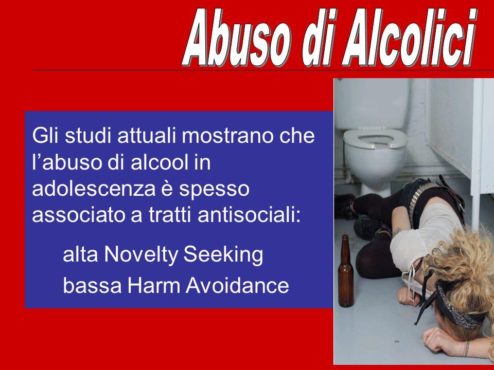 Abuso di Alcolici Gli studi attuali mostrano che l'abuso di alcool in adolescenza è spesso associato a tratti antisociali: