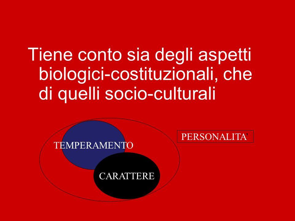 Tiene conto sia degli aspetti biologici-costituzionali, che di quelli socio-culturali