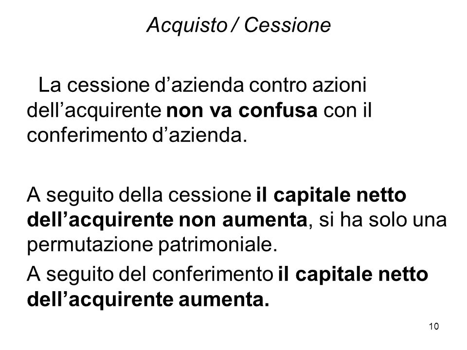 Acquisto / Cessione La cessione d'azienda contro azioni dell'acquirente non va confusa con il conferimento d'azienda.
