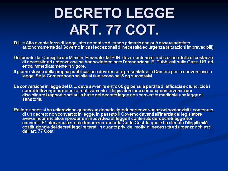 DECRETO LEGGE ART. 77 COT.