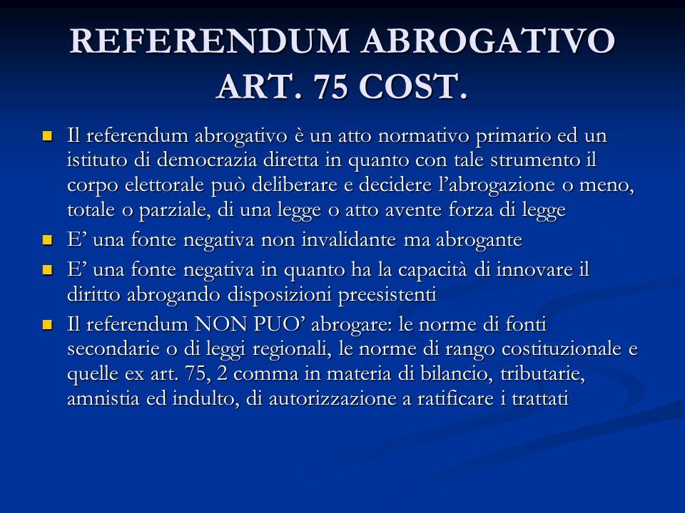 REFERENDUM ABROGATIVO ART. 75 COST.
