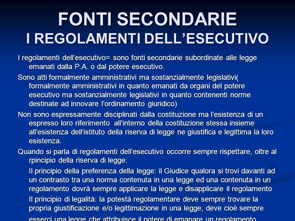 FONTI SECONDARIE I REGOLAMENTI DELL'ESECUTIVO