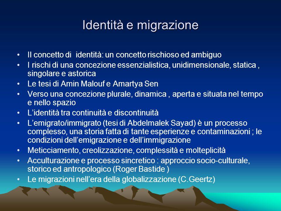 Identità e migrazioneIl concetto di identità: un concetto rischioso ed ambiguo.