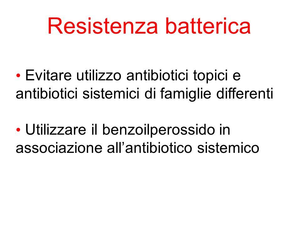 Resistenza batterica Evitare utilizzo antibiotici topici e antibiotici sistemici di famiglie differenti.