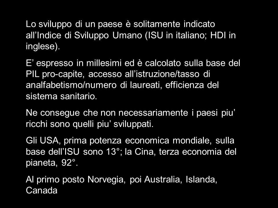 Lo sviluppo di un paese è solitamente indicato all'Indice di Sviluppo Umano (ISU in italiano; HDI in inglese).