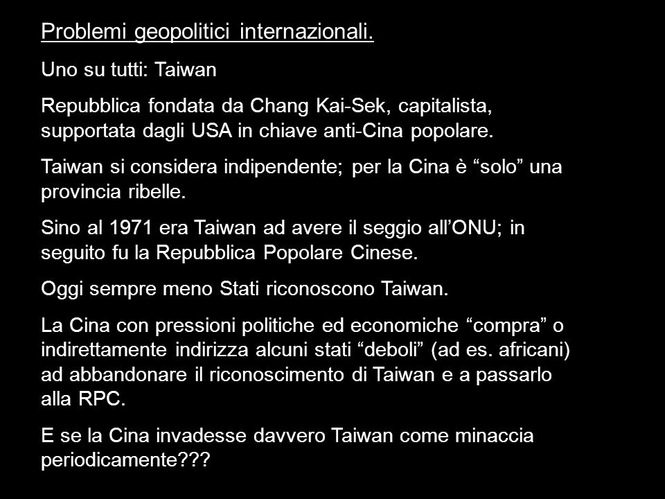 Problemi geopolitici internazionali.