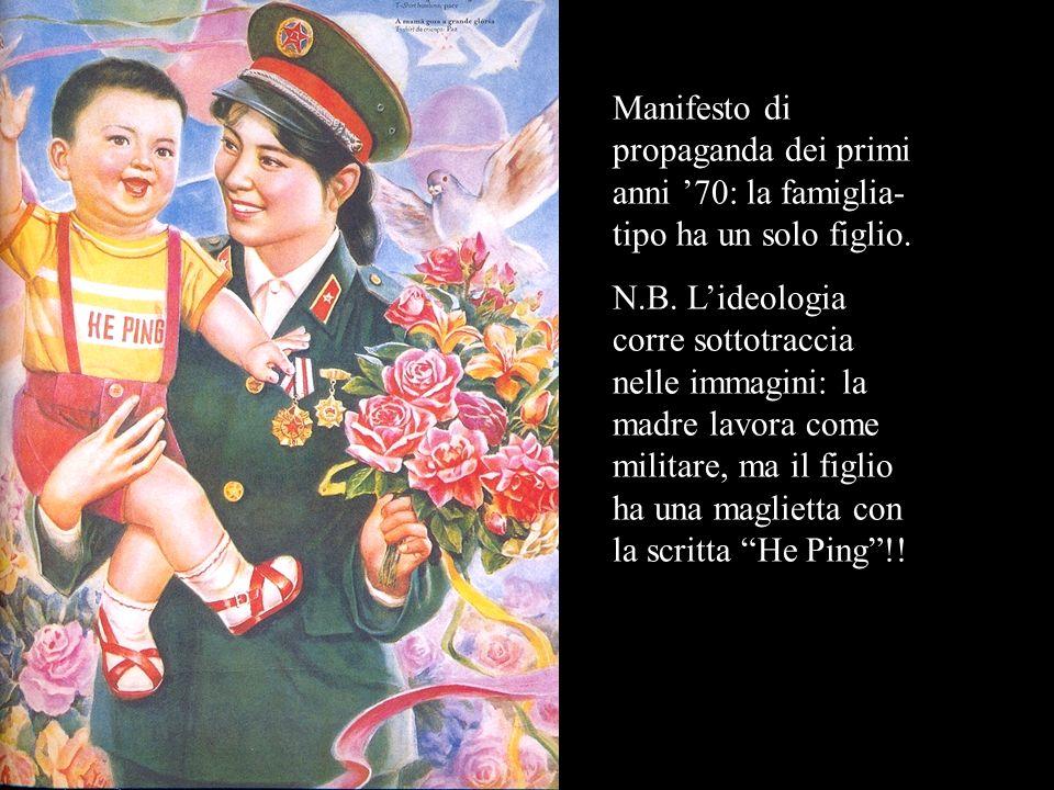 Manifesto di propaganda dei primi anni '70: la famiglia-tipo ha un solo figlio.
