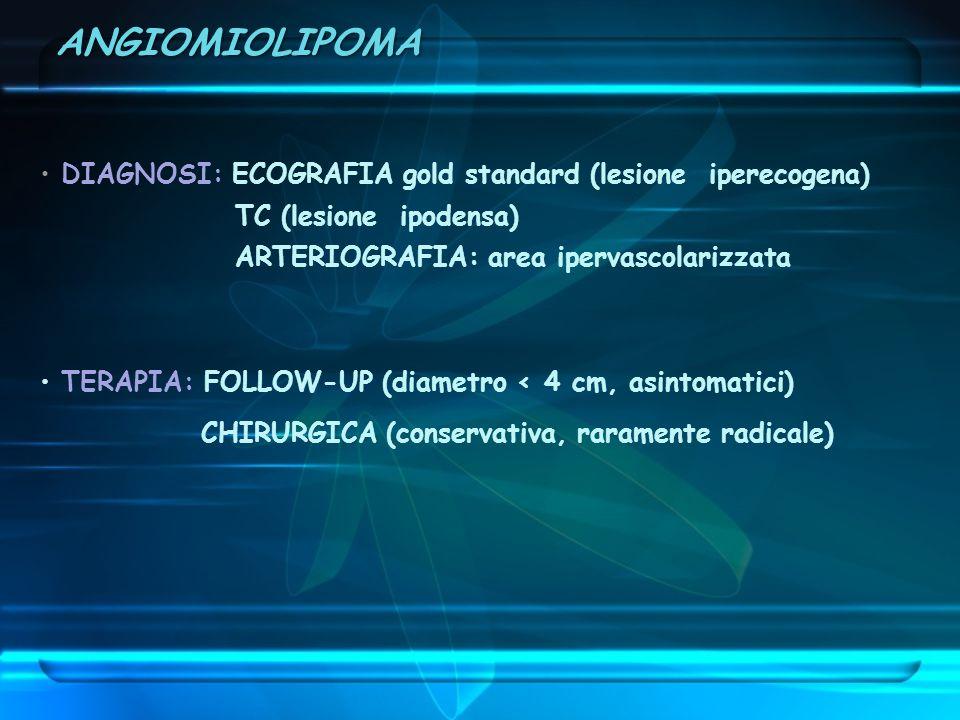 ANGIOMIOLIPOMA DIAGNOSI: ECOGRAFIA gold standard (lesione iperecogena)