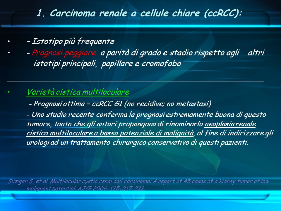 1. Carcinoma renale a cellule chiare (ccRCC):