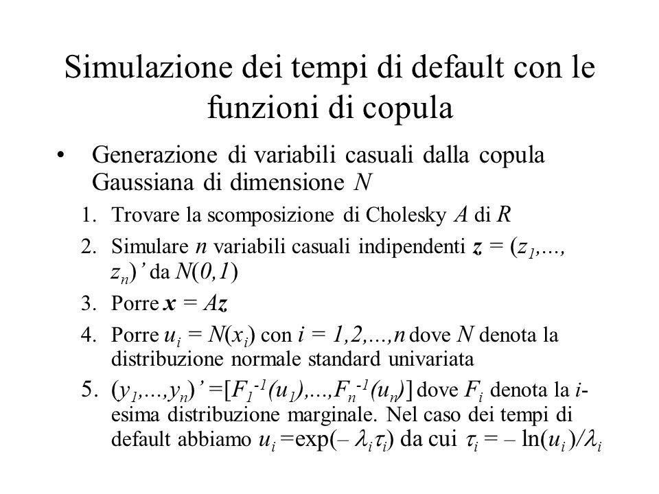 Simulazione dei tempi di default con le funzioni di copula