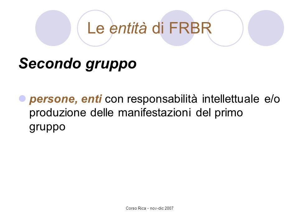 Le entità di FRBR Secondo gruppo