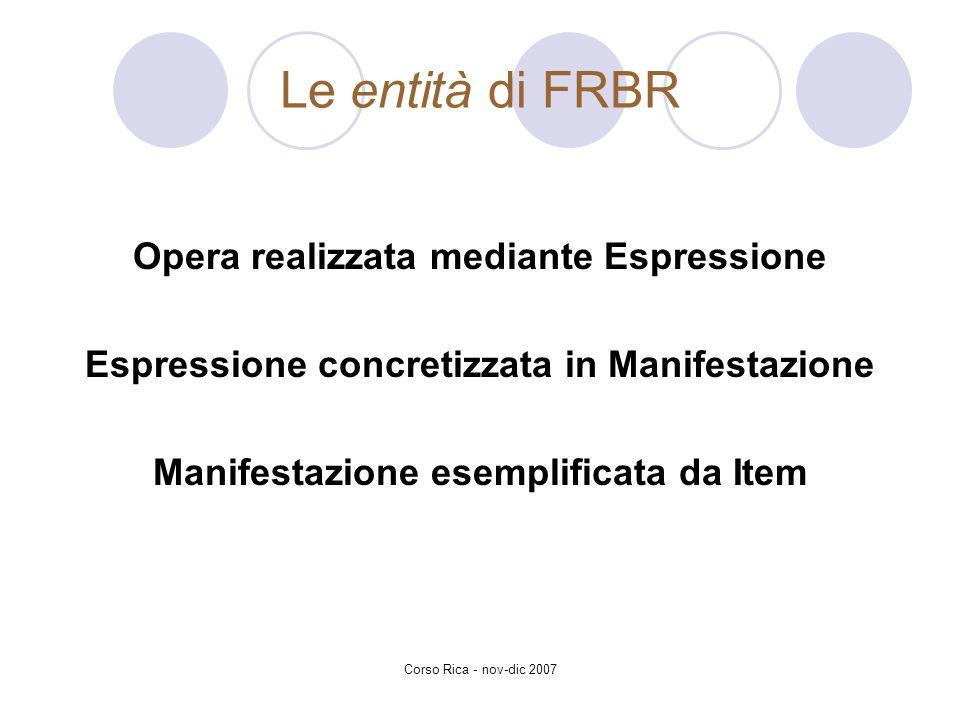 Le entità di FRBR Opera realizzata mediante Espressione