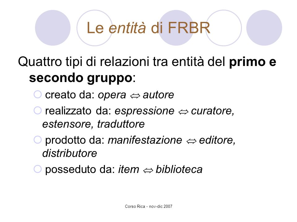 Le entità di FRBR Quattro tipi di relazioni tra entità del primo e secondo gruppo: creato da: opera  autore.