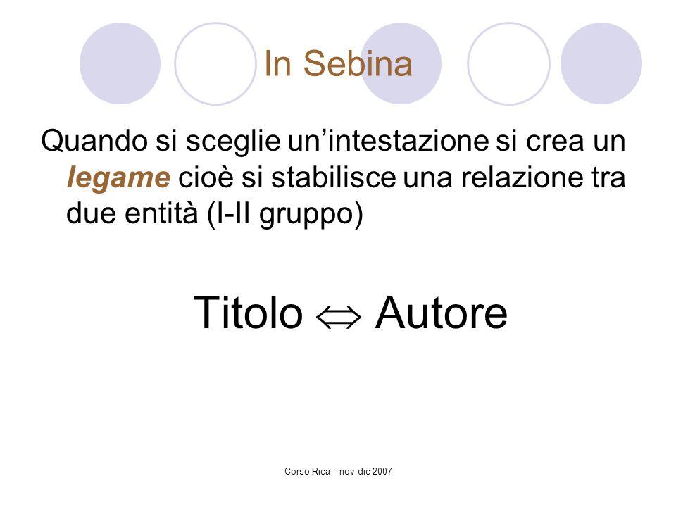 In Sebina Quando si sceglie un'intestazione si crea un legame cioè si stabilisce una relazione tra due entità (I-II gruppo)