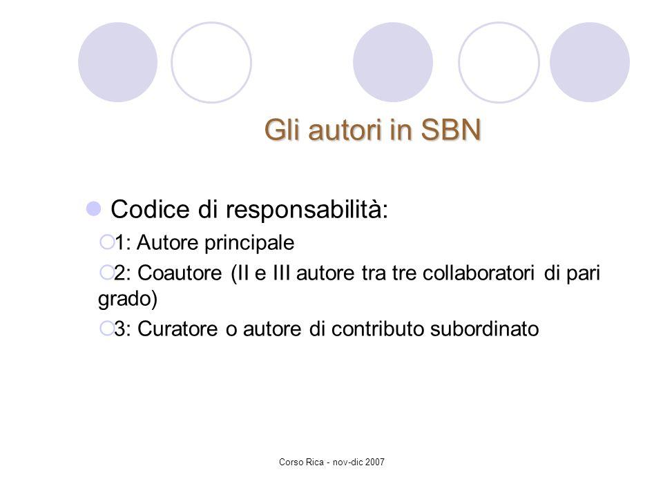 Gli autori in SBN Codice di responsabilità: 1: Autore principale