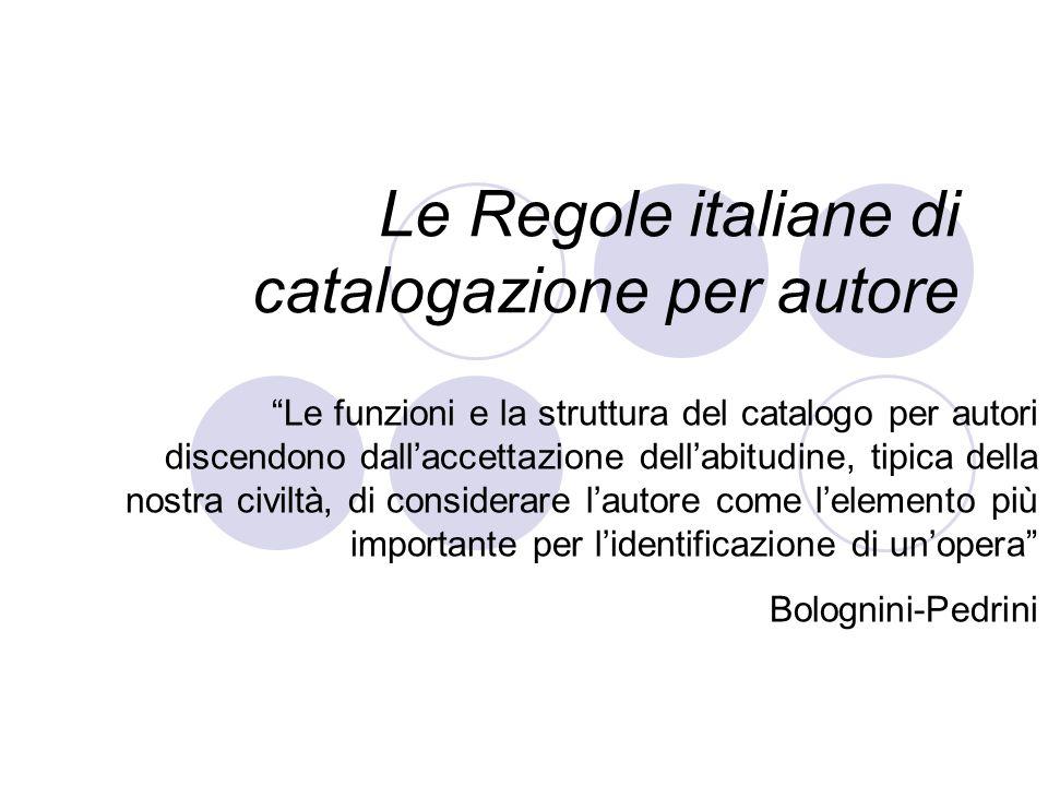 Le Regole italiane di catalogazione per autore