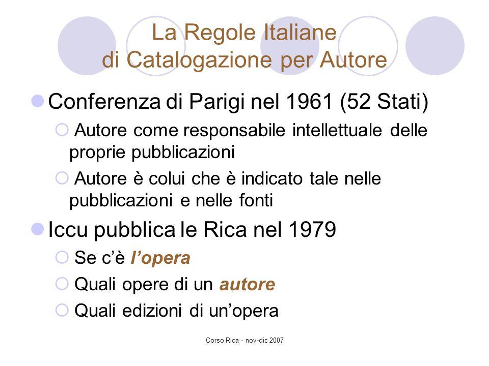 La Regole Italiane di Catalogazione per Autore