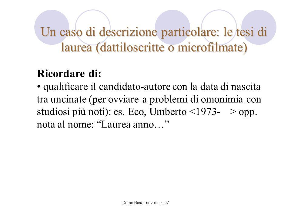 Un caso di descrizione particolare: le tesi di laurea (dattiloscritte o microfilmate)