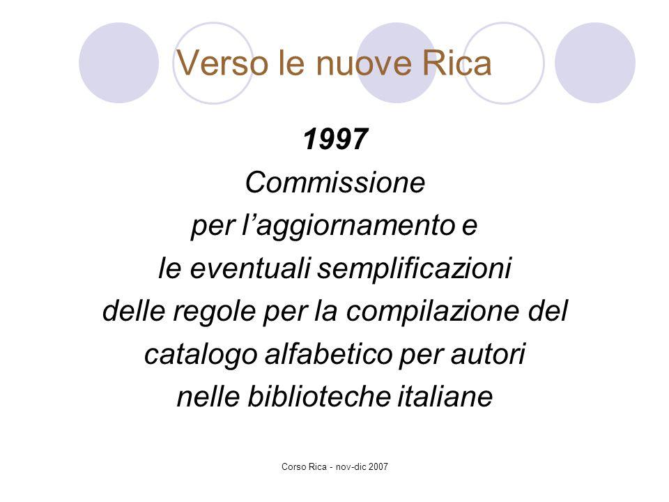 Verso le nuove Rica 1997 Commissione per l'aggiornamento e