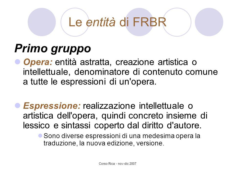 Le entità di FRBR Primo gruppo