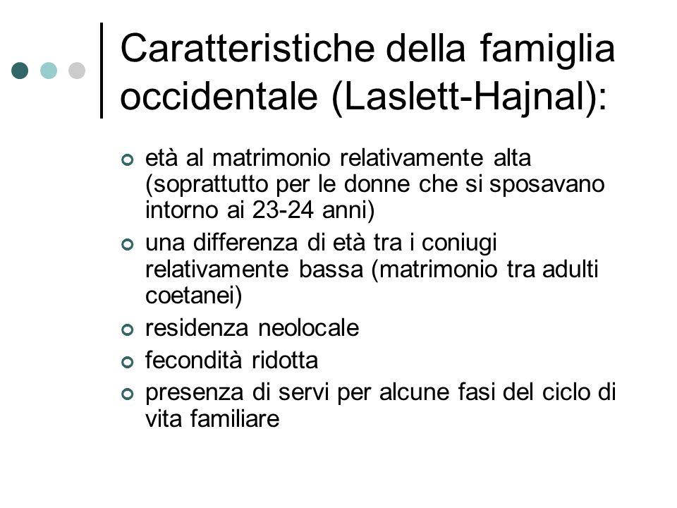 Caratteristiche della famiglia occidentale (Laslett-Hajnal):