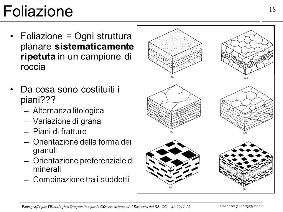 Foliazione Foliazione = Ogni struttura planare sistematicamente ripetuta in un campione di roccia. Da cosa sono costituiti i piani
