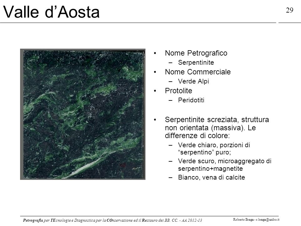 Valle d'Aosta Nome Petrografico Nome Commerciale Protolite