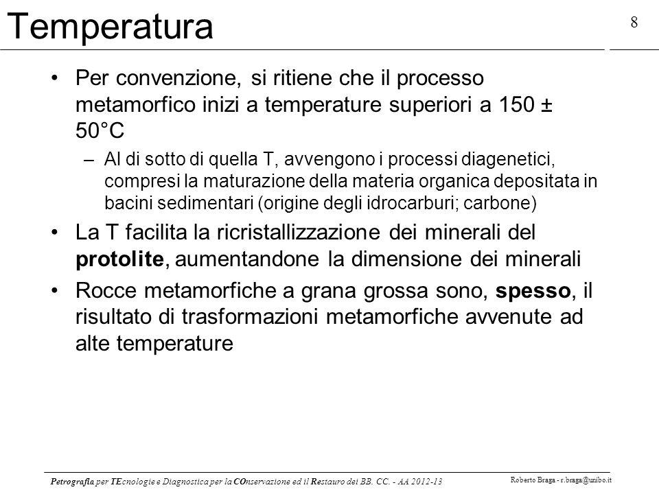 Temperatura Per convenzione, si ritiene che il processo metamorfico inizi a temperature superiori a 150 ± 50°C.