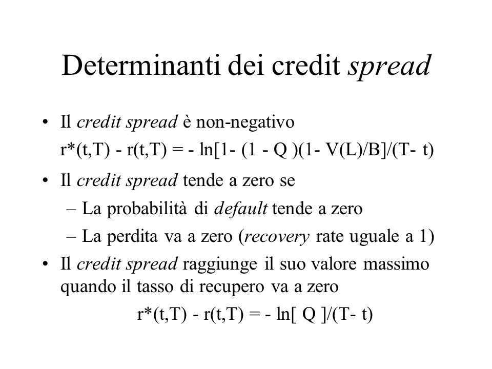 Determinanti dei credit spread