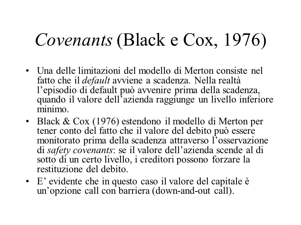 Covenants (Black e Cox, 1976)
