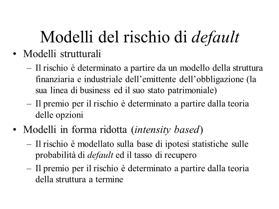 Modelli del rischio di default
