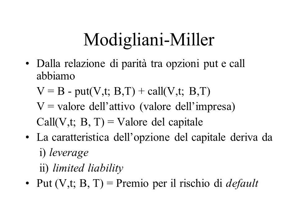 Modigliani-Miller Dalla relazione di parità tra opzioni put e call abbiamo. V = B - put(V,t; B,T) + call(V,t; B,T)
