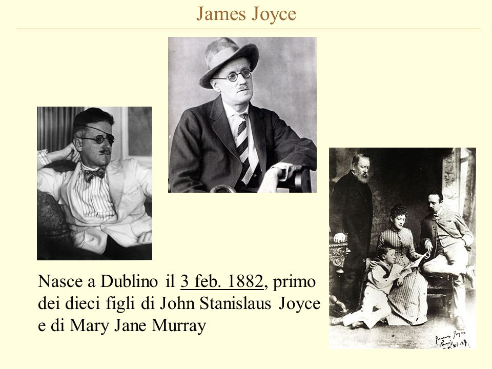 James Joyce Nasce a Dublino il 3 feb.