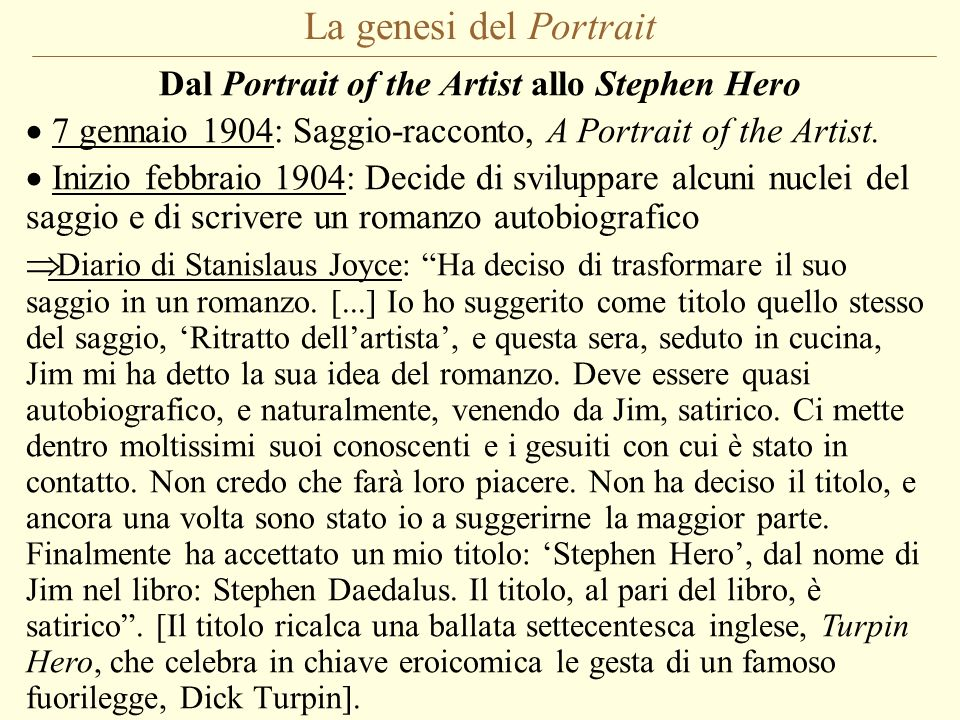 Dal Portrait of the Artist allo Stephen Hero