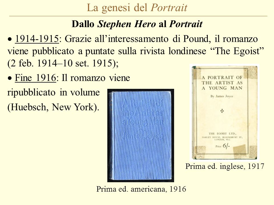 Dallo Stephen Hero al Portrait