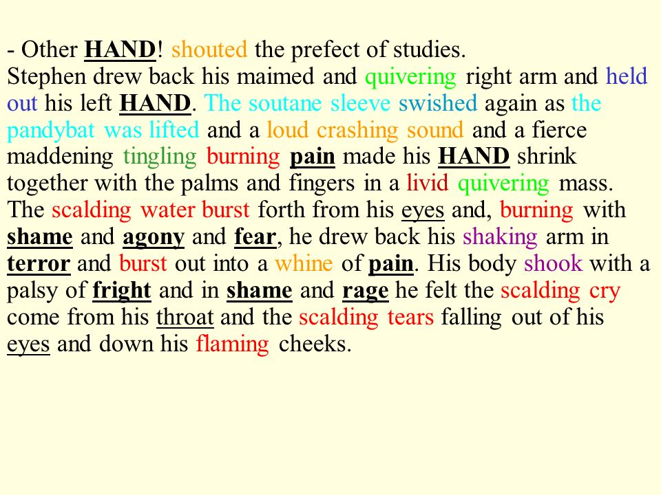 - Other HAND! shouted the prefect of studies.