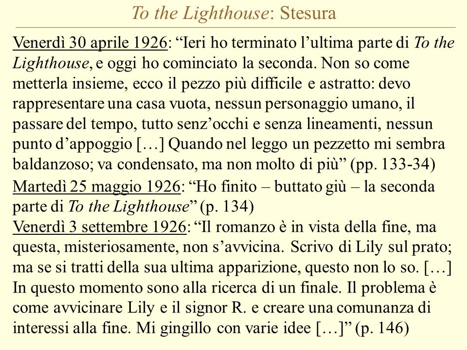 To the Lighthouse: Stesura