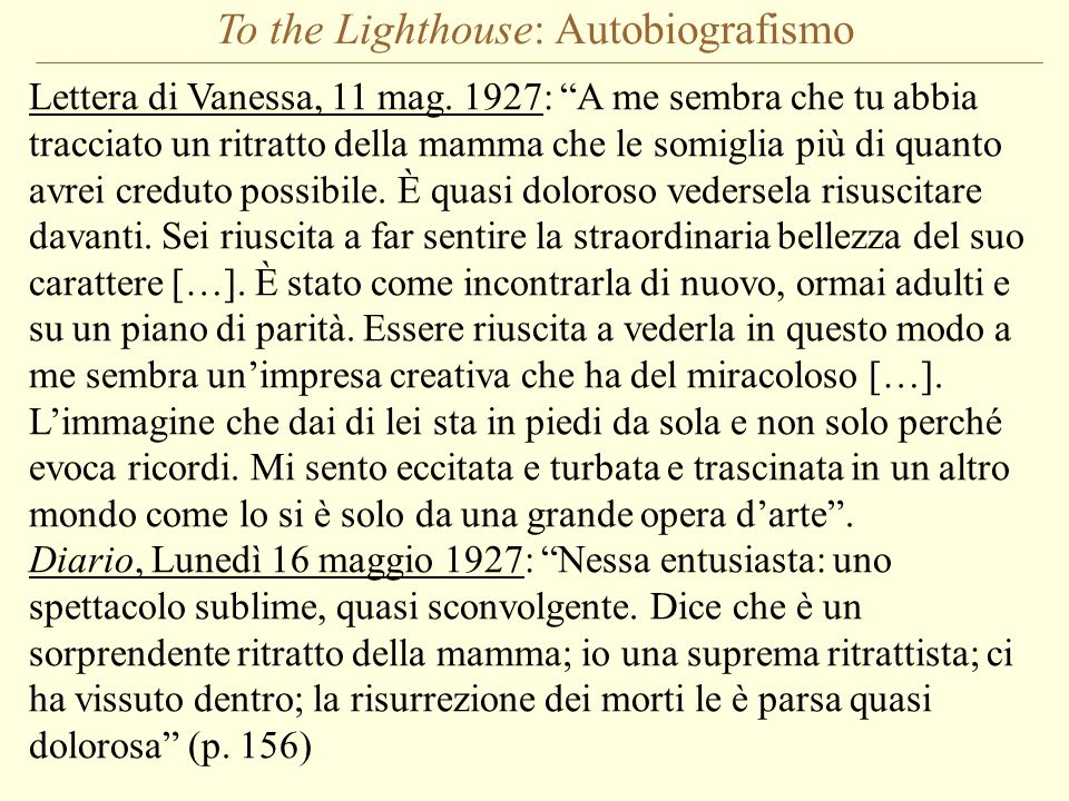 To the Lighthouse: Autobiografismo