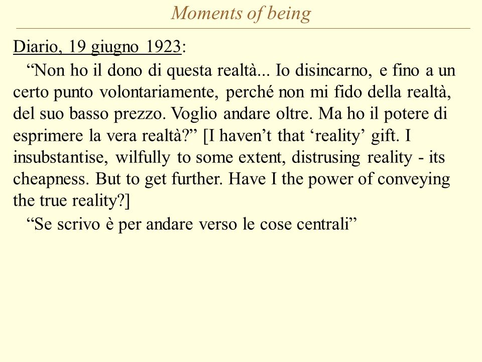 Moments of being Diario, 19 giugno 1923: