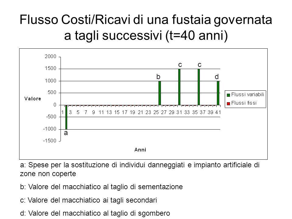Flusso Costi/Ricavi di una fustaia governata a tagli successivi (t=40 anni)