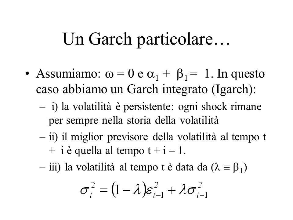 Un Garch particolare… Assumiamo:  = 0 e 1 + 1 = 1. In questo caso abbiamo un Garch integrato (Igarch):