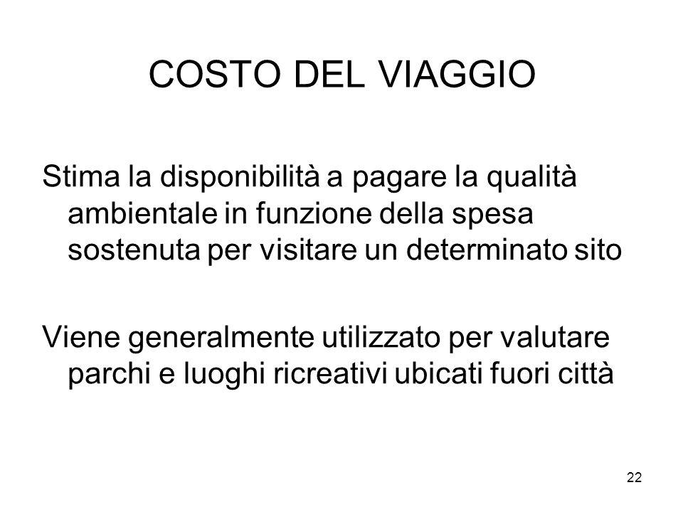 COSTO DEL VIAGGIO Stima la disponibilità a pagare la qualità ambientale in funzione della spesa sostenuta per visitare un determinato sito.