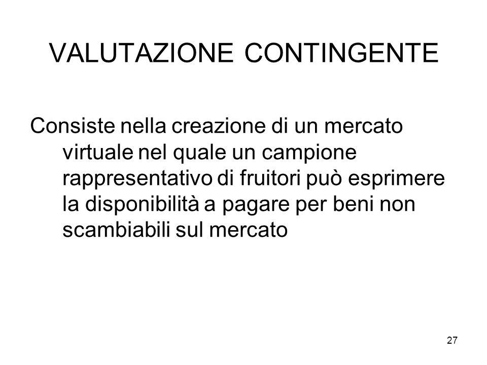 VALUTAZIONE CONTINGENTE